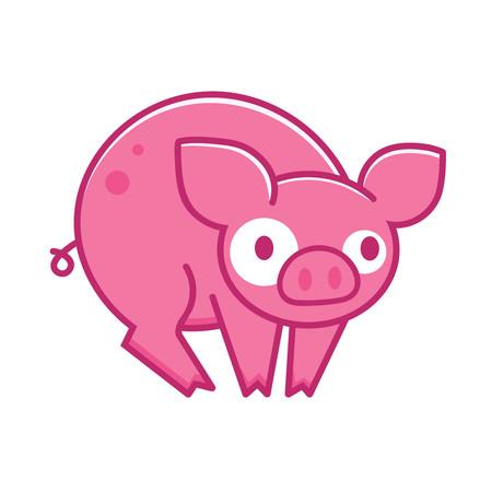 Isolated cartoon pig icon. Vector illustration.