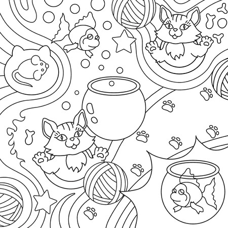 Background with cats, clews, fishes, aquariums and mouses. Isolated vector illustration in cartoon style, line art. All objects separate.