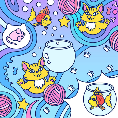 Background with cats, clews, fishes, aquariums and mouses. Colored vector illustration in cartoon style. All objects separate. 矢量图像