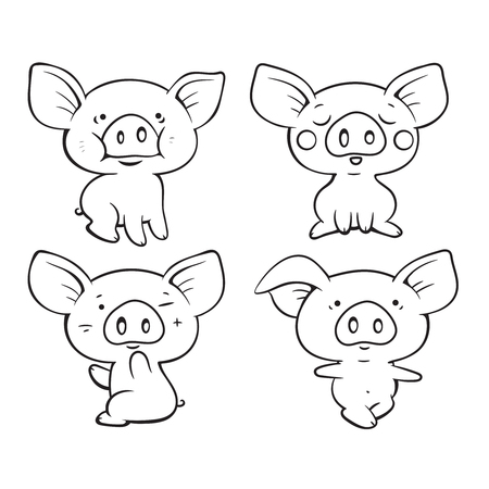 Set of cute cartoon pigs. Vector isolated illustration. Can be used for coloring book, banners, posters, web design.