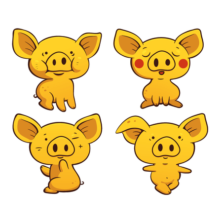 Set of cute cartoon pigs.Vector colored illustration. Can be used for stickers, printing on clothes, banners, posters, web design. 矢量图像
