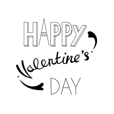 Happy Valentine's day typographic lettering. Vector text isolated on white background.