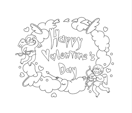 Happy Valentine's day. Vector line art black and white illustration. Can used for design greeting cards, banners, posters, prints and coloring books.