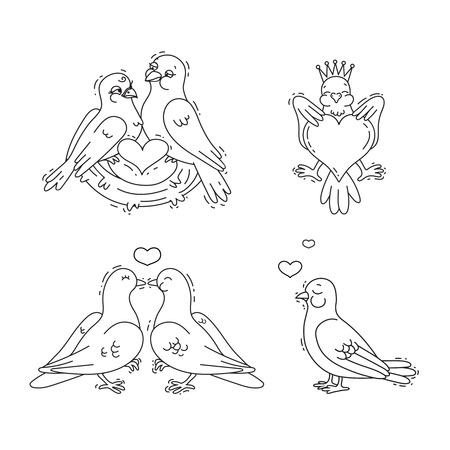 Cute amorous pigeons set.Design elements for Valentines Day, wedding or themes of love. Black and white vector line art illustration.