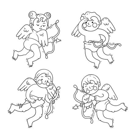 Set di amorini simpatici cartoni animati per San Valentino o matrimonio. Illustrazioni di arte di linea di vettore isolate su bianco.