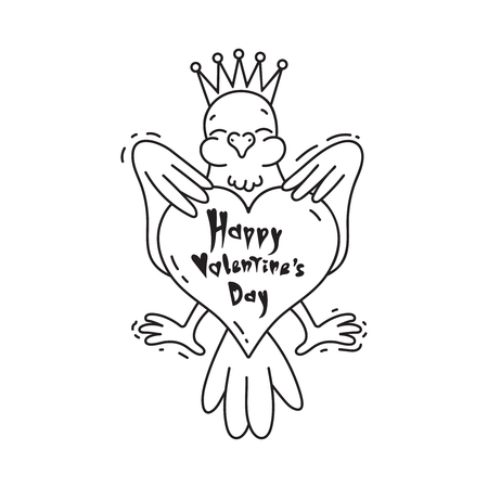 Bird heraldic emblem with big heart in cartoon style. With text Happy Valentine's day. Vector line art illustration.