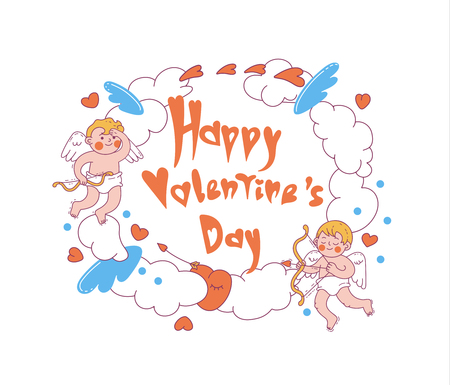 Happy Valentine's day. Vector colored illustration. Can used for design greeting cards, banners, posters and prints.