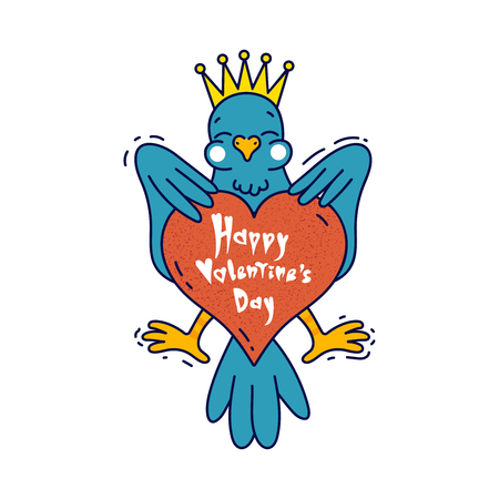 Bird heraldic emblem with big heart in cartoon style. With text Happy Valentine's day. Vector colored illustration.