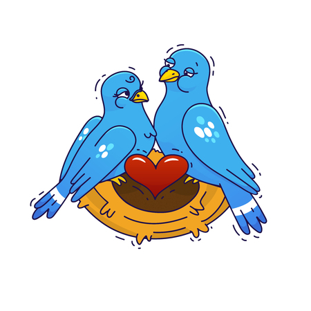 Couple of birds in love in the nest. Vector Illustration for Valentine's day.