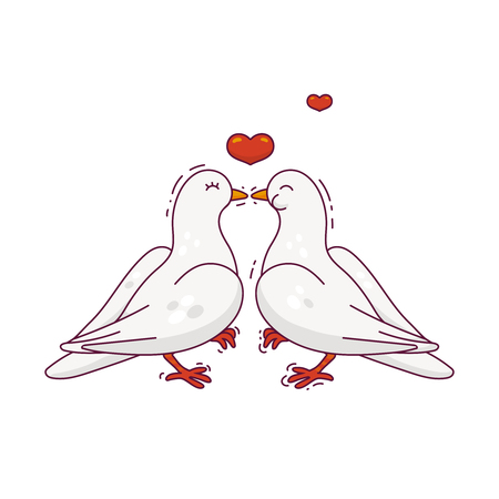 Couple of the kissing birds. Theme for Valentine's day or wedding. Vector colored illustration. 矢量图像