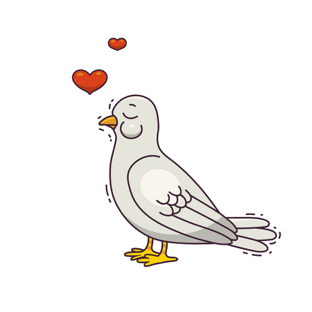 Romantic bird with a hearts. Vector illustration. Theme about love, Valentine's day or wedding.