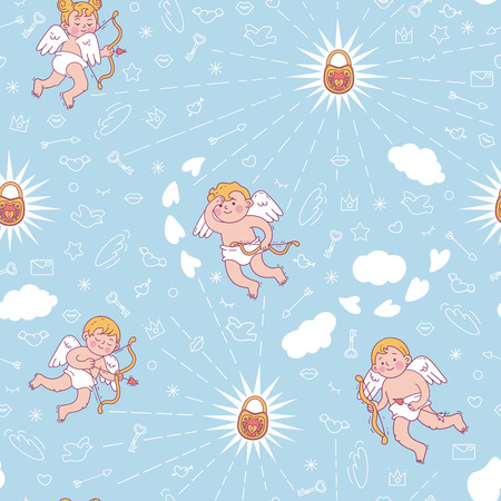 Seamless pattern with cute cupids for Valentine's day or wedding. Vector colored illustration isolated on white.