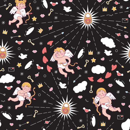 Seamless pattern with cute cupids for Valentine's day or wedding. Vector colored illustration isolated on black background.