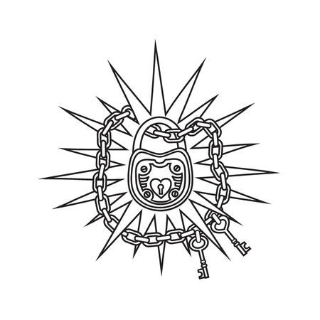 Illustration of a school tattoo style.Vector black and white illustration.