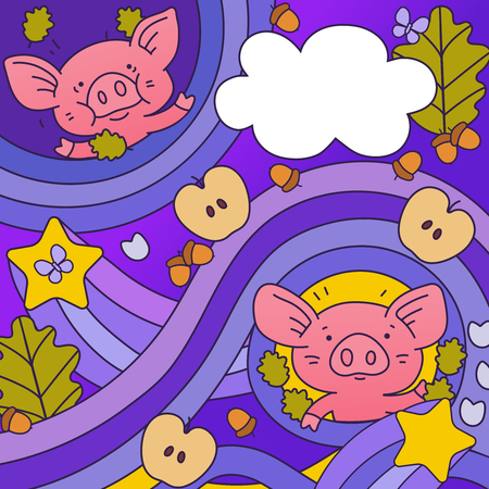 Background with pigs, acorns, apples, stars and leaves. Colored vector illustration in cartoon style.