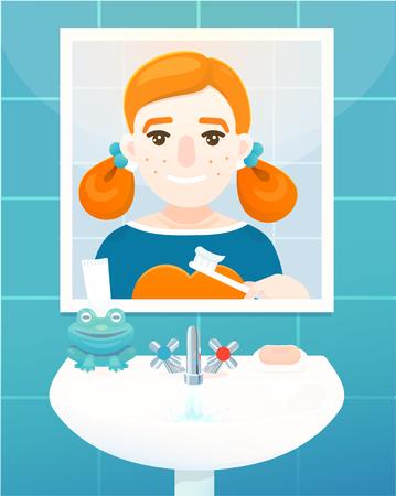 Cute girl in bathroom is brushing her teeth. Vector colored illustration, flat design.