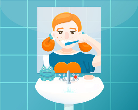 Young girl in bathroom is brushing her teeth. Vector colored illustration, flat design. Illustration