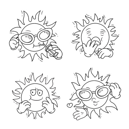 Set of cartoon sun characters.Vector isolated illustration. Can be used for coloring book, banners, posters, web design. 矢量图像