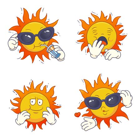 Set of cartoon sun characters.Vector isolated colored illustration. Can be used for clothing, banners, posters, web design.