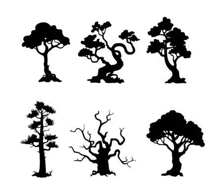 Insieme della siluetta degli alberi su priorità bassa bianca. Illustrazione isolata disegnata a mano.