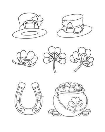 St. Patrick's day set cartoon leprechaun's hat, cauldron with gold, horseshoe and shamrock. Vector isolated illustration. Can used for coloring book, printing on clothes, banners, posters, web design.