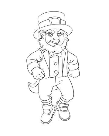 Dansing leprechaun cartoon for St. Patrick's day. Vector isolated illustration. Can used for coloring book, printing on clothes, banners, posters, web design. 矢量图像