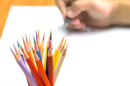 artwork: Writing hand. Stock Photo