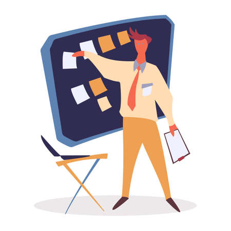 Work organization and time management vector illustration. Manager pointing on board with tasks. Stickers and memos on whiteboard. Assignments and appointments reminders. Working space in office