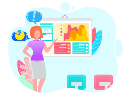 Worker woman presenting graph report with link icons. Presenter discussing or researching growth chart on presentation. Employee female and web window with colorful chart of business strategy vector
