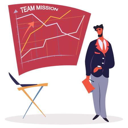 Man on presentation of team workflow vector. Team mission progress data on board. Business development and organization of working tasks. Businessman holding document report. Taskboard with charts
