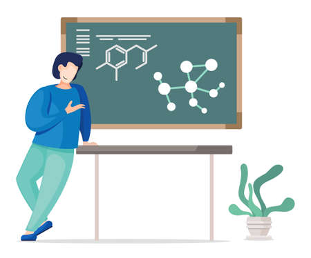 Young student standing near board with chemical bonds and explaining formulas. Man lean on table, smiling and pointing at board. Cartoon characters, concept of university lectures. Flat vector