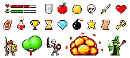Set of minimalistic pixel art vector objects isolated. Pixel game buttons. 8 bit UI gaming bar notation. Video-game pixel magic items, digital pixelated lives bar. Heroes and retro icons used in games Stock Illustratie