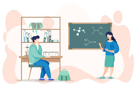 Young student learning the chemistry in classroom. Teacher standing near the board point at chemical bonds and explaining it. Young man listening coacher in the training class. Cartoon characters.