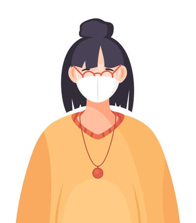 Young woman wearing face medical mask standing at white background. Viral pandemic. Coronavirus 2019-ncov flu. Respiratory protection from virus pandemia. Quarantine and self-isolation. Flat vector