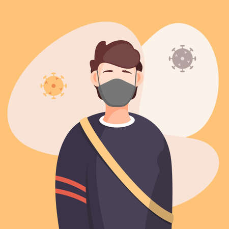 Covid-19, portrait of man in respiratory medical mask, flying virus pathogen around. Spreading virus in air. Concept of coronavirus spreading. Man in center of epidemy. Protected with immune system Ilustração