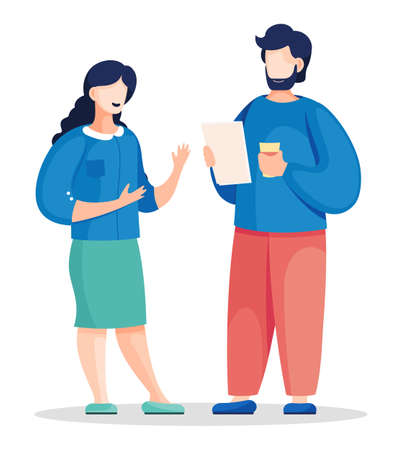 Two vector office characters communicating with each other. Colleagues discuss a new project, the man have a plan in hands. Worker talking with boss at white background. Partners planning strategy.