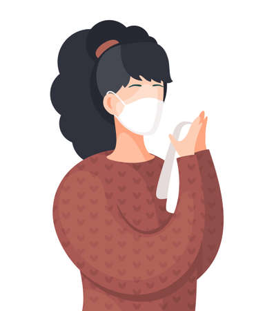 Young woman wearing face medical mask standing and holds handkerchief. Viral pandemic. Coronavirus 2019-ncov flu. Respiratory protection from virus pandemia. Quarantine and self-isolation. Flat vector Illusztráció