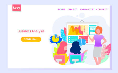 Business analysis website decorated by workers characters discussing graph report. Businesswoman brainstorming and communicating with computer vector. Webpage template, app slider flat style