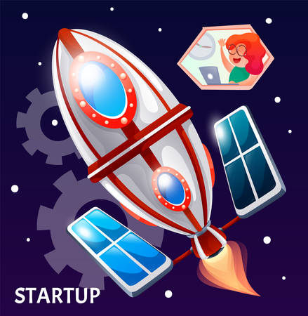 Startup business project, woman is using laptop to control rocket in space. Creative innovation development, business mission achievement. Entrepreneur opportunity strategy. Vector illustration Vectores