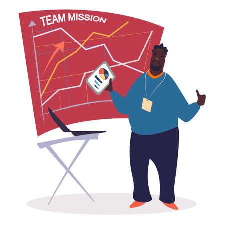 Business seminar, presentation of successful completion of tasks vector. Afro-American coach holding document with diagram explaining charts on board. Education for businessmen flat illustration