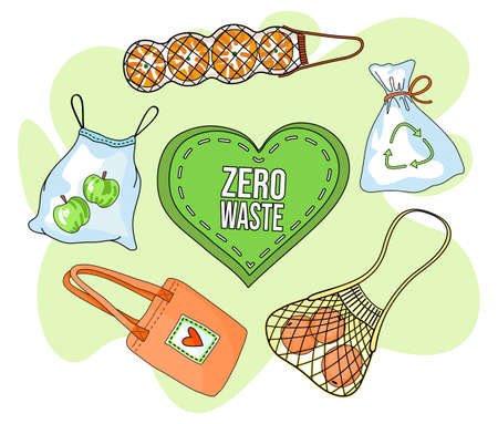 Vector poster in eco style with text in center in green heart. Zero waste, use recycling, textile or mesh bags for products. Cartoon text or phrase with ecology concept. Eco slogan at green background