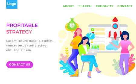 Workers meeting and discussing profitable strategy in business industry. Women characters communicating with laptop or developing finance idea vector. Webpage or website template in flat design style