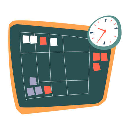 Taskboard with squared table and stickers vector. Time management and workflow organization. Increasing productivity and sticking to plan. Whiteboard with clock and notes reminding of events Çizim