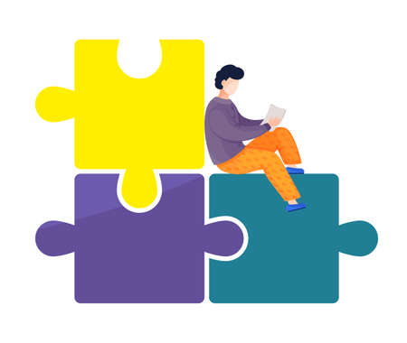 Cartoon vector illustration of man holding report or business plan in hands sitting at huge puzzle background. Sucess finish, solution of problem. Combine puzzle, find right business decision concept