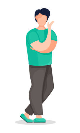 Flat vector illustration of young thoughtful man with in green t-shirt and brown trousers. Portrait of cartoon character in casual style. Young guy isolated at white background, faceless character