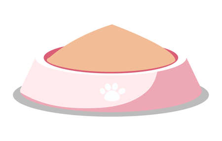 Cat or dog food in pink bowl with paw print isolated pets meal in flat cartoon style. Vector illustration of kittens or puppies snack, healthy nutrition food on plastic plait. Pedigree or feline meal