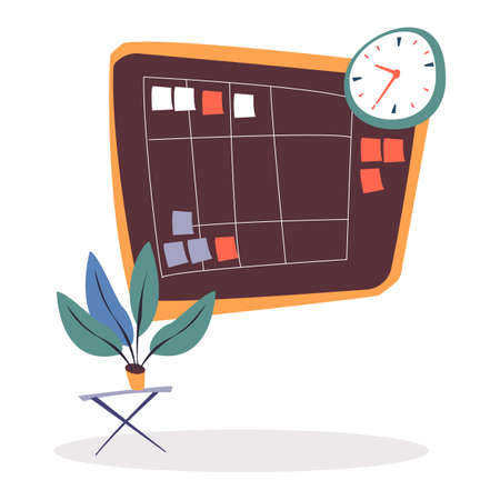 Brown task board with spreadsheet with tasks, notes on pinned paper stickers. Clock on wall and plant in pot on table. Room interior of office for business appointments. Vector illustration flat style
