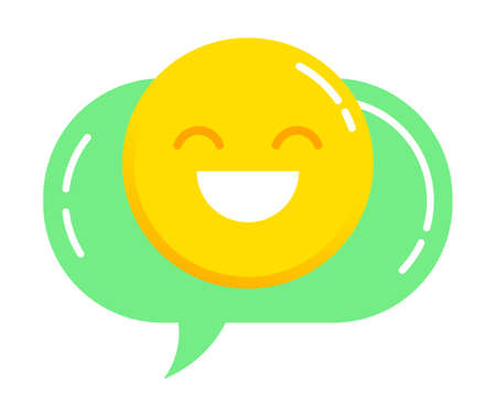 Smiling face used during conversation in internet. Isolated icon of emoji in thought bubble. Emoticon character in chat box. Cheerful facial emotion, smiley symbol design. Flat vector illustration
