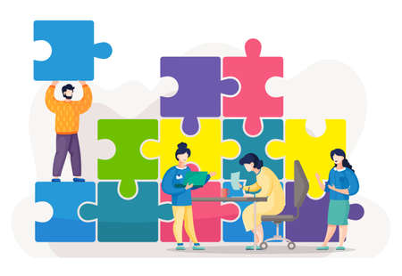 Cartoon colorful illustration with huge puzzle. People connecting pieces of jigsaw, solving problems, colllective working at one business project. Leadership and partnership in business, teamwork