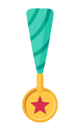 Isolated cartoon icon at white background for website or apps. Golden medal for victory in sport tournament. Medal for the first place in sport or game. Victory concept. Winner or prize, best person